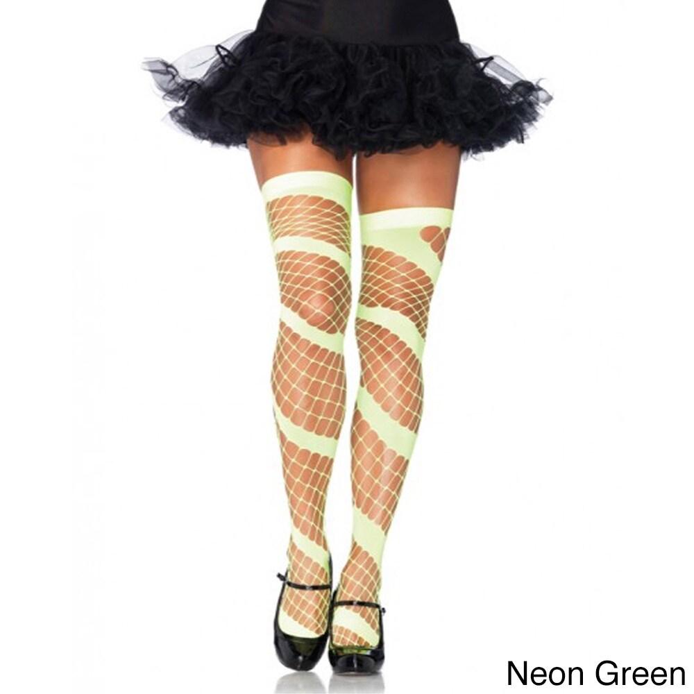 Leg Avenue Womens Swirl Diamond Net Thigh Highs (Green), ...