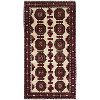 Ecarpetgallery Hand-Knotted Persian Finest Baluch Beige Wool Rug (3'4 x 6'3)