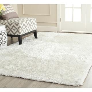 Safavieh Handmade South Beach Shag Snow White Polyester Rug (6' Square)