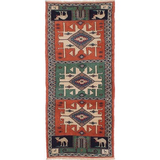 Ecarpetgallery Hand-Knotted Persian Guchan Brown and Green Wool and Silk Rug (2'10 x 6'6)