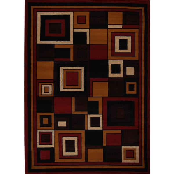 """Home Dynamix Premium Collection Red (3'7"""" X 5'2"""") Machine Made Polypropylene Area Rug"""