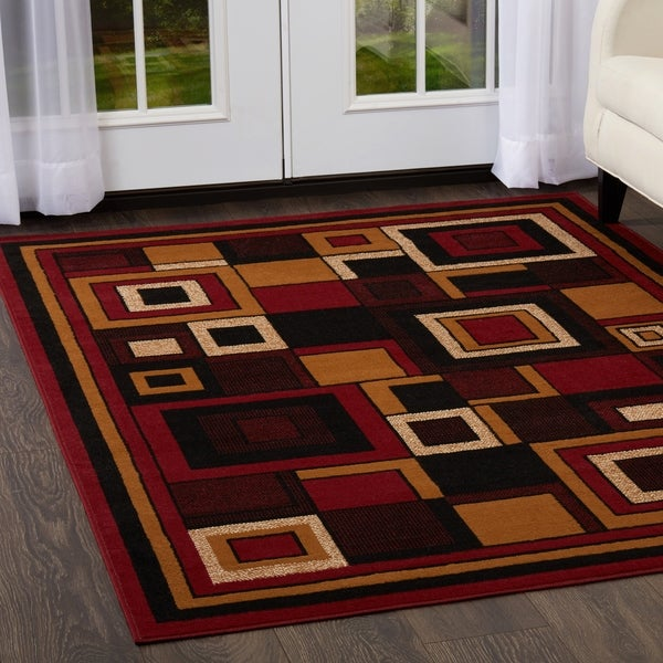 """Home Dynamix Premium Collection Red (3'7"""" X 5'2"""") Machine Made Polypropylene Area Rug - 3'11"""" x 5'3"""""""