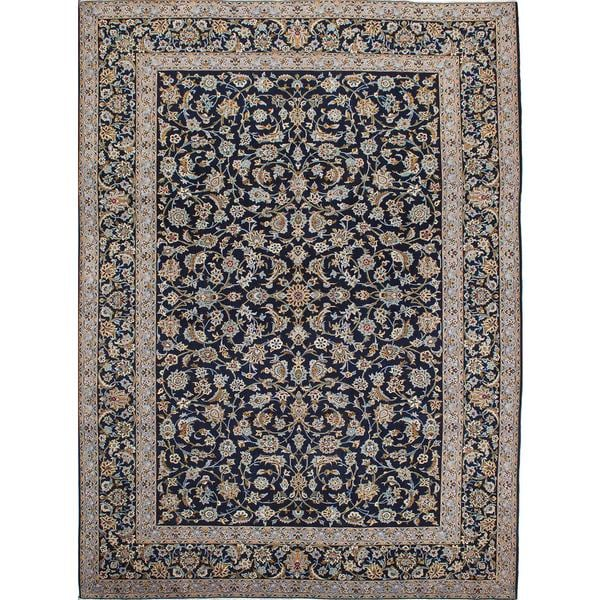 Persian Hand Knotted Kashan Silk And Wool Area Rug Ebth: Shop Ecarpetgallery Hand-Knotted Persian Kashan Blue Wool