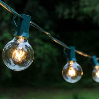 Outdoor string lights for less overstock modern outdoor 25 light 100 watt incandescent electric globe string lights aloadofball Image collections