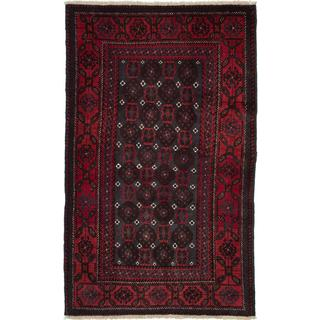 Ecarpetgallery Hand-Knotted Persian Finest Baluch Red Wool Rug (3'8 x 9'5)
