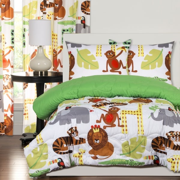 Crayola Jungle Love Brushed Microfiber 3-Piece Comforter Set - Multi. Opens flyout.
