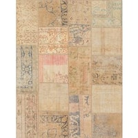 Ecarpetgallery Hand-Knotted Sunwash Patch Beige Wool Rug (4'5 x 5'9)