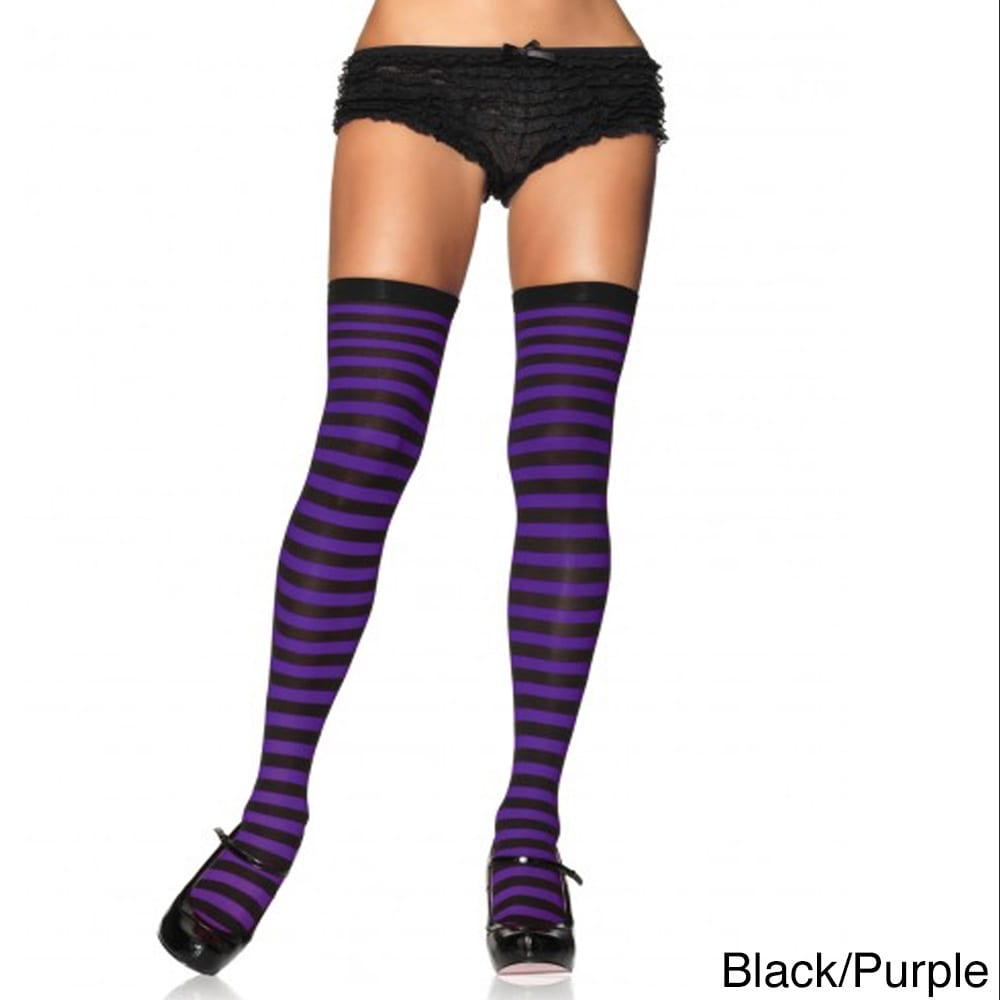 Leg Avenue Women's Nylon Striped Stockings (Black/Purple,...