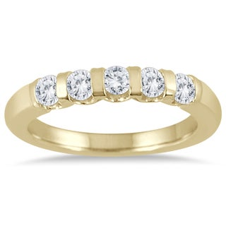 Marquee Jewels 14k Yellow Gold 1/2ct TDW Bar Set 5 Stone Diamond Band