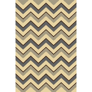"""Home Dynamix Royalty Collection Gray-Ivory (31""""x 50"""") Machine Made Polypropylene Accent Rug"""