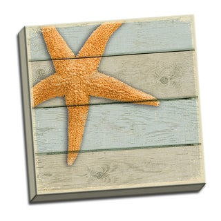 Starfish 12x12 Coastal Shell Art Printed on Framed Ready to Hang Canvas