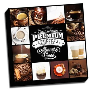 Premium Coffee Collage 22x22 Colorful Printed on Framed Ready to Hang Canvas