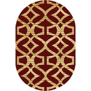 Home Dynamix Royalty Collection Red Polypropylene Machine Made Oval Accent Rug (2'7 x 4'2)