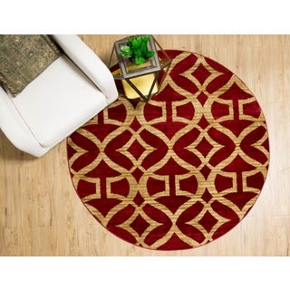 "Home Dynamix Royalty Collection Red (39"") Round Machine Made Polypropylene Area Rug"