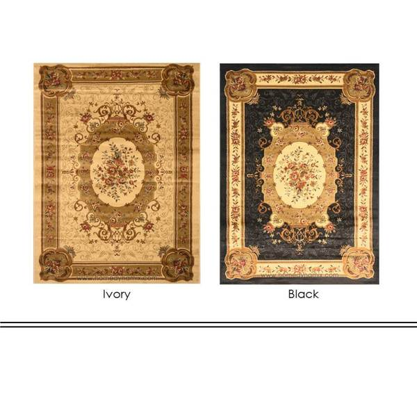 Home Dynamix Royalty Collection Traditional Ivory / Black Round Area Rug (19.6 x 31.5)