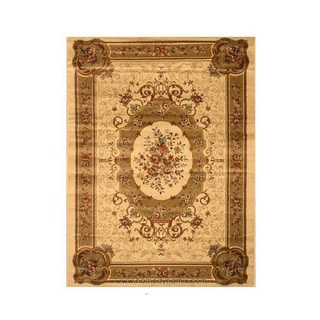 "Home Dynamix Royalty Collection Traditional Ivory / Black Round Area Rug (19.6""X31.5"") - 19.6 x 31.5"