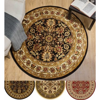 """Home Dynamix Royalty Collection Traditional (39"""") Round Machine Made Polypropylene Area Rug"""