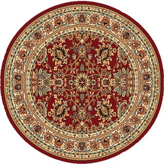 Home Dynamix Royalty Collection Traditional Round Machine Made Polypropylene Area Rug - 3'3 (Option: Red)