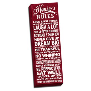 House Rules Red Quote 12x36 Art Printed on Framed Ready to Hang Canvas