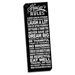 House Rules Black Quote 12x36 Art Printed on Framed Ready to Hang Canvas