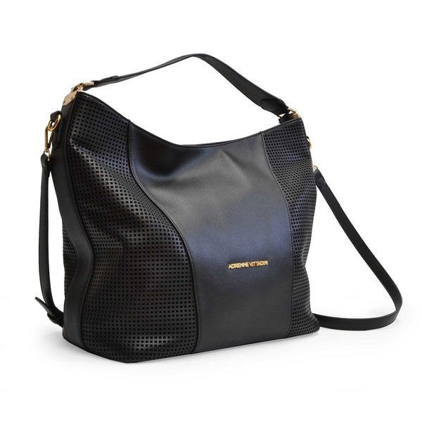 Adrienne Vittadini Perforated Vegan Leather East/West Shoulder Bag