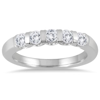 Marquee Jewels 14k White Gold 1/2ct TDW 5-stone Bar Set Diamond Wedding Band