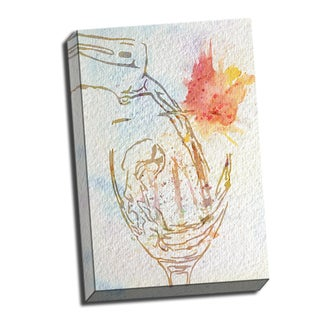 Wine Pour Watercolor Printed on Ready to Hang Framed Stretched Canvas