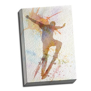 Skateboarder Watercolor Printed on Ready to Hang Framed Stretched Canvas