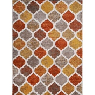 "Home Dynamix Tremont Collection Beige-Orange (3'3"" x 5'2"") Machine Made Polypropylene Area Rug"