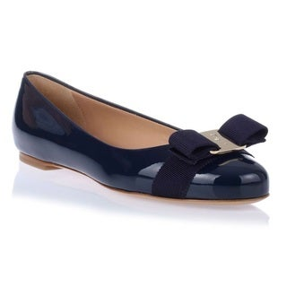 Ferragamo Patent Varina Slip-on Shoes - Oxford Blu