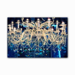 Supreme Blue Chandelier Printed on Framed Ready to Hang Canvas