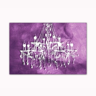 Purple Chandelier Digital Art Printed on Ready to Hang Framed Stretched Canvas