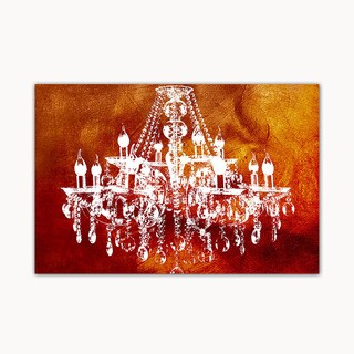 Hot Red Chandelier Digital Art Printed on Ready to Hang Framed Stretched Canvas