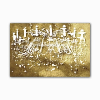Golden Light Chandelier Printed on Framed Ready to Hang Canvas