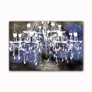 Crystal Noir Chandelier Printed on Framed Ready to Hang Canvas