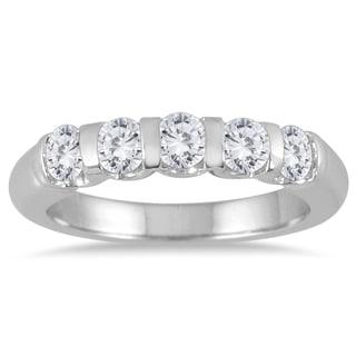 Marquee Jewels 14k White Gold 3/4ct TDW Bar-set 5-stone Diamond Band (I-J, I2-I3)