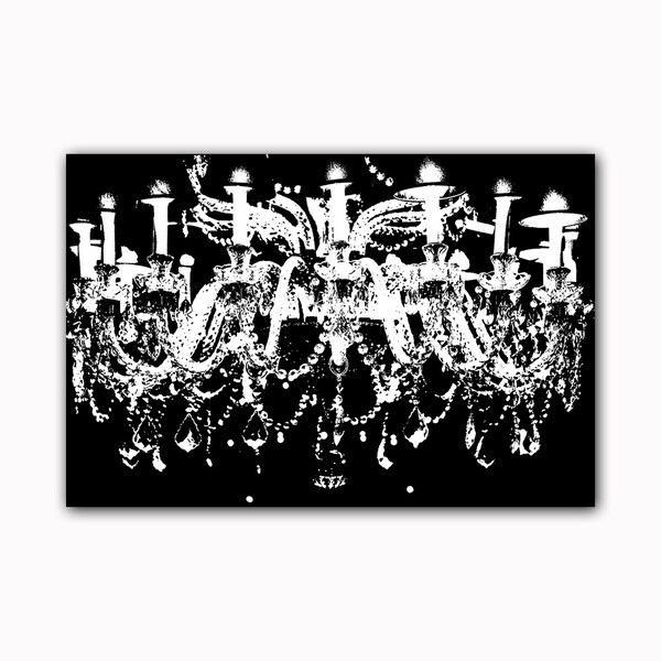 Black And White Chandelier Printed On Framed Ready To Hang Canvas