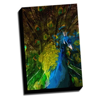 Expressionist Style Peacock Printed on Ready to Hang Framed Stretched Canvas