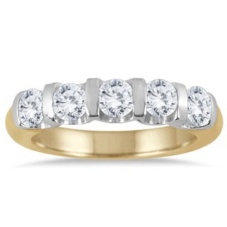 Marquee Jewels 14k Two-toned Gold 1ct TDW Bar-set 5-stone Diamond Band
