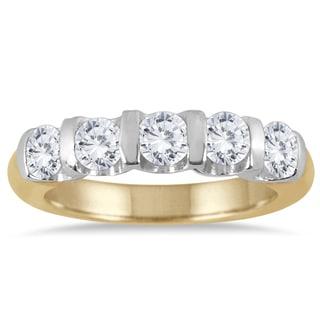 Marquee Jewels 14k Two-toned Gold 1ct TDW Bar-set 5-stone Diamond Band (I-J, I2-I3)