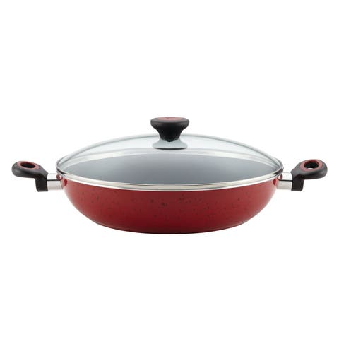 Paula Deen Riverbend Aluminum Nonstick 12.5-Inch Covered Chicken Fryer with Side Handles
