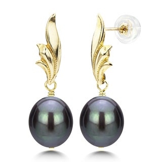 DaVonna 14k Yellow Gold Leaf Shape 8-9mm Long Shape Black Freshwater Cultured Pearl Dangle Stud Earrings