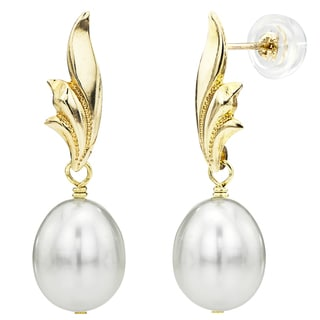 DaVonna 14k Yellow Gold Leaf Shape 8-9mm Long Shape White Freshwater Cultured Pearl Dangle Stud Earrings