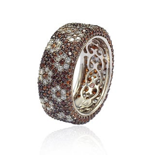 Suzy Levian Sterling Silver Cubic Zirconia Brown and White Flower Eternity Band