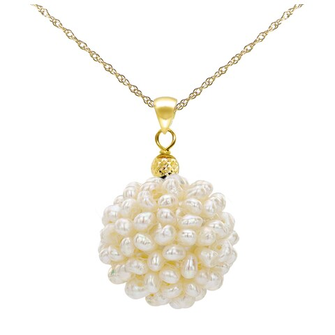 """DaVonna 14k Yellow Gold Chain Necklace with 18-19mm Snowball Design White Freshwater Cultured Pearl Pendant, 18"""" - 18-19 mm"""