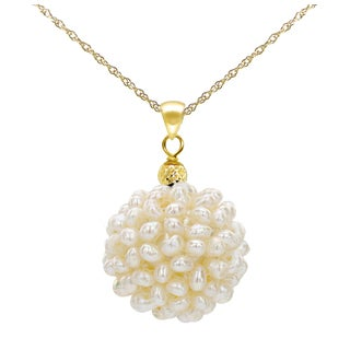 DaVonna 14k Yellow Gold Chain Necklace with 18-19mm Snowball Design White Freshwater Cultured Pearl Pendant, 18""