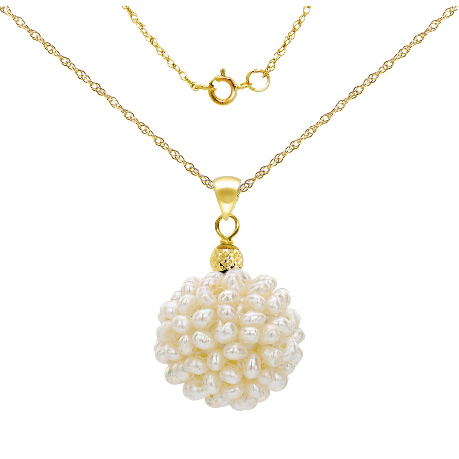 Shop Davonna 14k Yellow Gold Chain Necklace With 15 16mm Snowball Design White Freshwater Cultured Pearl Pendant 18 Overstock 11654481