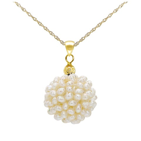 """DaVonna 14k Yellow Gold Chain Necklace with 15-16mm Snowball Design White Freshwater Cultured Pearl Pendant, 18"""""""