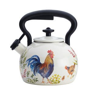 Paula Deen Signature Teakettles 2-Quart Enamel on Steel Teakettle, Garden Rooster|https://ak1.ostkcdn.com/images/products/11654482/P18585397.jpg?impolicy=medium