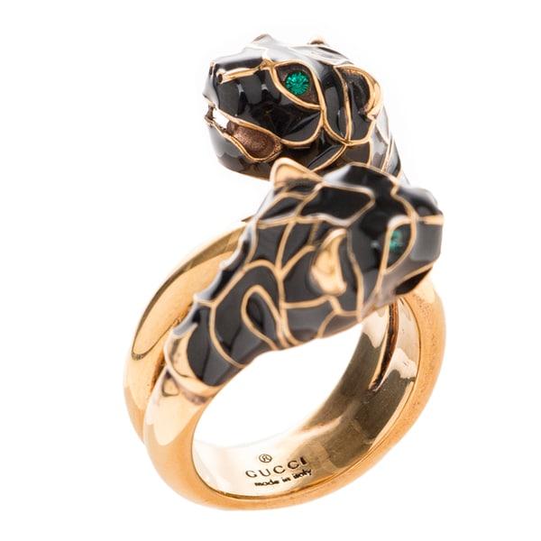 54b8f358c Shop Gucci Yellow Gold Overlay Tiger Head Black Enamel Ring - Free ...